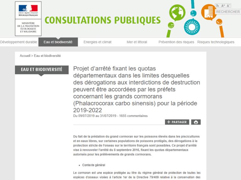 Quota du Grand Cormoran pour 2019-2022