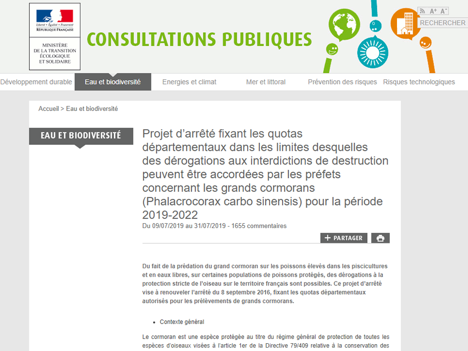 Quota du Grand Cormoran pour 2019-2022